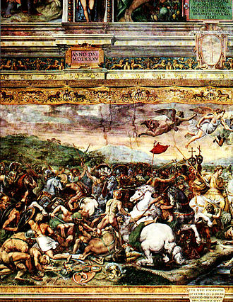 Tetrarchy - Constantine at the battle of the Milvian Bridge, fresco by Raphael, Vatican Rooms.