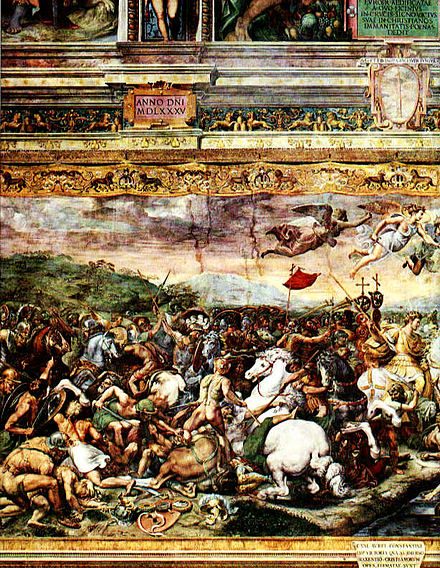 The Battle of the Milvian Bridge by Giulio Romano (1499-1546) Raphael-Constantine at Milvian Bridge.jpg