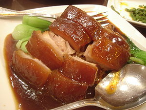 Red cooking - Red-cooked pork belly served with thickened braising sauce.