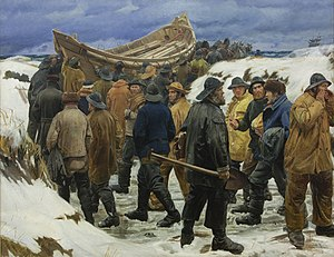 Michael Ancher - Redningsbåden køres gennem klitterne (The lifeboat is taken through the dunes, detail, 1883)