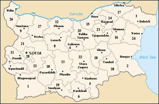 Regions of Bulgaria Map