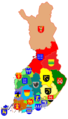 Regions of Finland with coats of arms.png