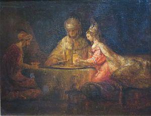 Rembrandt's painting Ahasuerus and Haman at th...