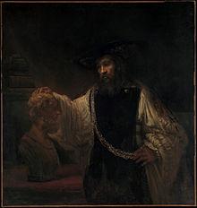 Aristoteles vor der Büste des Homer, Gemälde von Rembrandt van Rijn (Quelle: Wikimedia)