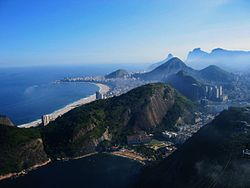 A view of Rio de Janeiro in the direction of Copacabana and Ipanema, from Sugarloaf mountain.