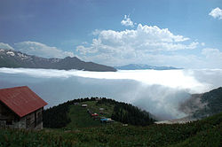 Pokut plateau. Clouds above the mountains of Rize