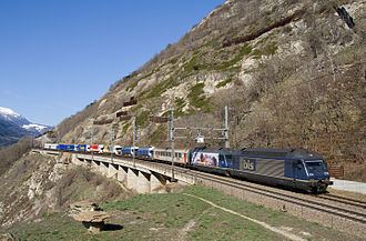 SBB-CFF-FFS Re 460 - Rolling Highway near Lalden, pulled by two BLS Re 465