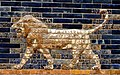 Roaring lions, decorative glazed wall panel from the Throne Room of king Nebuchadnezzar II from Babylon, Iraq. 6th century BCE. Pergamon Museum.jpg