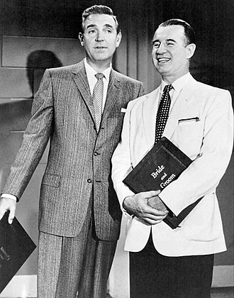Frank Parker (singer) - Robert Paige and Frank Parker (right) on Bride and Groom (TV series) (1957)