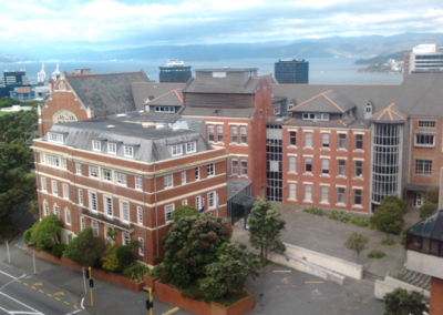 The Stout building (left), at the Kelburn campus of Victoria University of Wellington. Robert Stout and Hunter buildings.png