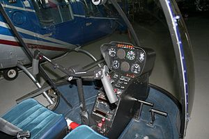 "Robinson R22 - The R22's cockpit, showing its unique ""T-Bar"" control"