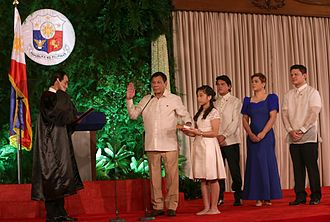 Philippine presidential line of succession - Rodrigo Duterte takes the oath of office as the 16th President of the Philippines at the Malacañang Palace on June 30, 2016. Leni Robredo had taken her own oath of office as Vice President hours earlier at a separate venue, securing the presidential line of succession.
