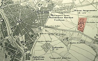 Rogozhskoye Cemetery - Eastern suburbs of Moscow in 1848. Rogozhskoe Cemetery in red.