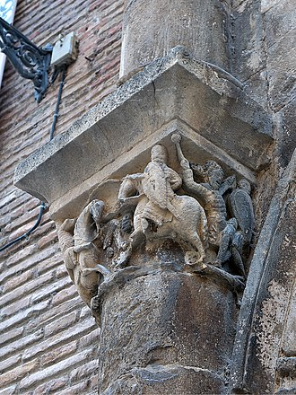 Palace of the Kings of Navarre, Estella - Moralizing capital showing Roland against the giant Ferragut by master Martin of Logroño