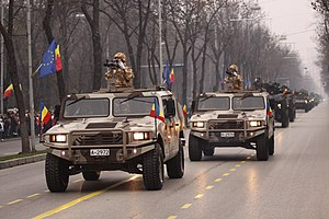 Romanian URO VAMTAC vehicles during the Romanian National Day military parade 2.jpg