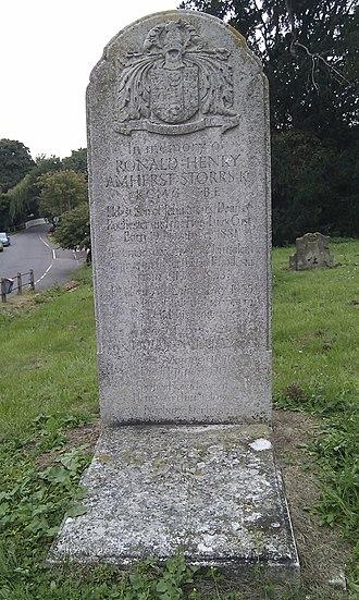 Ronald Storrs - Storrs' grave stone at Pebmarsh