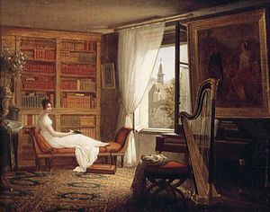 Abbaye-aux-Bois - François-Louis Dejuinne's 1826 rendering of Juliette Récamier in her fourth-floor chambers at Abbaye-aux-Bois.