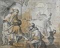 Rossi Mariano attr. - Wash - Le lavement des pieds du Christ par un religieux - 20x15.5cm.jpg