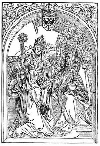 Hrotsvitha - Hrotsvit of Gandersheim presents an aged emperor Otto the Great with her Gesta Oddonis, under the eyes of Abbess Gerberga, 1501 woodcut by Albrecht Dürer