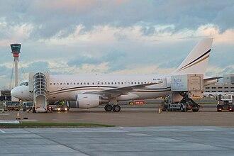 Rotana Jet - Rotana Jet Airbus ACJ319 at London Heathrow Airport