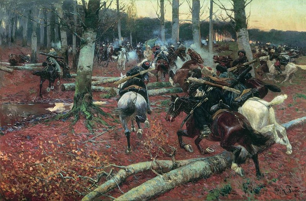 Франц Рубо. Кавказская (конная) разведка. 1901 год.