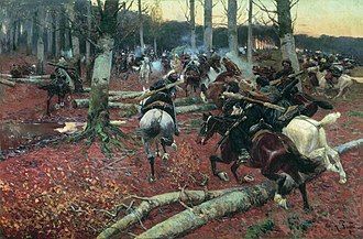 Murid War - Fighting in the forests of Chechnya or Circassia. Note the felled timber. Most accounts make the trees larger and denser than this painting