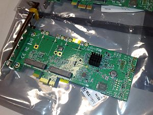 PCI Express - A PCI Express ×1 card containing a PCI Express switch (covered by a small heat sink), which creates multiple endpoints out of one endpoint and allows it to be shared by multiple devices