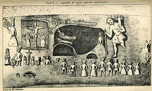 Royston Cave - Plate I from Joseph Beldam's book The Origins and Use of the Royston Cave, 1884 showing some of the numerous carvings.