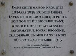 Photo of Rudolf Diesel plaque