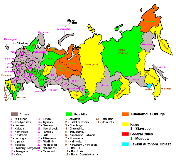 Map of the federal subjects of the Russian Federation