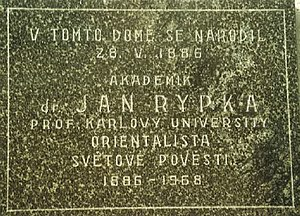 Jan Rypka - The memorial plaque on his native house in Kromeriz