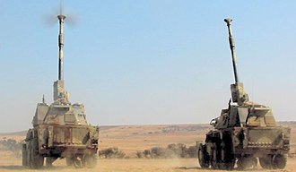 South African Army Artillery Formation - G6 Rhino Howitzers at the Klipdrift military base