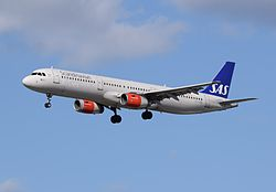 SAS Scandinavian Airlines Airbus A321-200 (OY-KBB) arrives London Heathrow 11Apr2015 arp.jpg