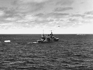 SBD from VB-3 ditches near USS Astoria (CV-34) at Midway 1942.jpg