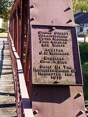 Starke County Bridge No. 39 - Image: SCB39 Bridge 39 Dedication Plaque PA090094