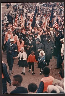 SELMA TO MONTGOMERY MARCH Day 5 The Abernathy Children, Ralph David Abernathy, Juanita Jones Abernathy and John Lewis lead the line up and beginning of the March..jpg