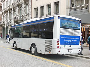 Società Navigazione del Lago di Lugano - One of SNL's buses, in central Lugano.
