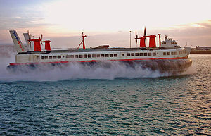 Hoverspeed - Mark III SR.N4 hovercraft arriving in Dover on its last commercial flight - October 1, 2000