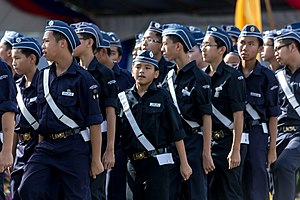 Non-aligned Scouting and Scout-like organisations - Parade of Boys' Brigade during Celebrations of Hari Merdeka 2013 in Likas, Malaysia