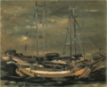 SaekiYūzō-1926-Ship at Anchor.png