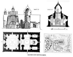 Saint Bartholomew Monastery - Image: Saint Bartholomew Monastery floor and cross plan