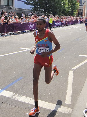 Samuel Tsegay - Samuel Tsegay in the marathon at the 2012 Summer Olympics