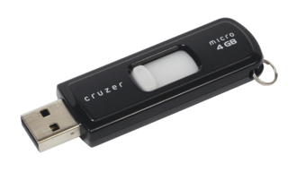 USB flash drive - A Sandisk Cruzer USB drive from 2011, with 4GB of storage capacity.