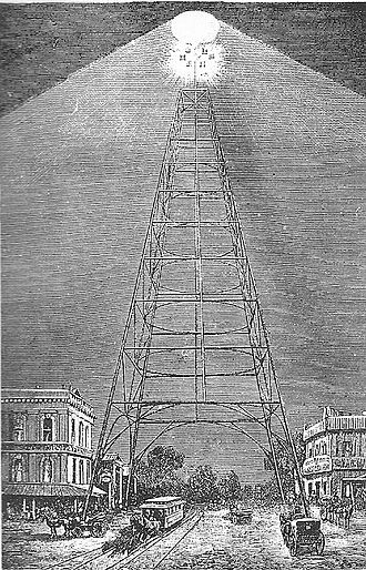San Jose electric light tower - San Jose electric light tower illuminated in the early 1880s