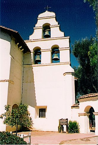 "Architecture of the California missions - The three-bell campanario (""bell wall"") at Mission San Juan Bautista. Two of the bells were salvaged from the original chime, which was destroyed in the 1906 San Francisco earthquake."