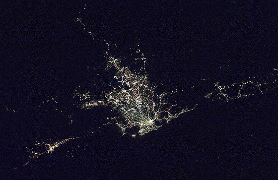 Satellite photo of the Sydney area at night. Wollongong can be seen at bottom left, while Gosford and the Central Coast are visible at the far right. Satellite photo of the Greater Sydney Area at night.jpg