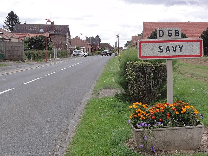 Savy (Aisne) city limit sign