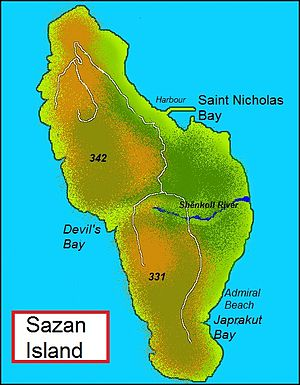 Sazan Island - Map of Sazan Island
