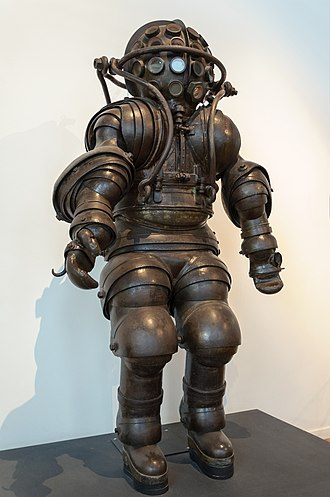 Atmospheric diving suit - ADS, built by Carmagnolle brothers in 1882, was the first anthropomorphic design.