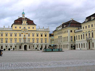 Duchy of Württemberg - Courtyard of the Ducal palace at Ludwigsburg.